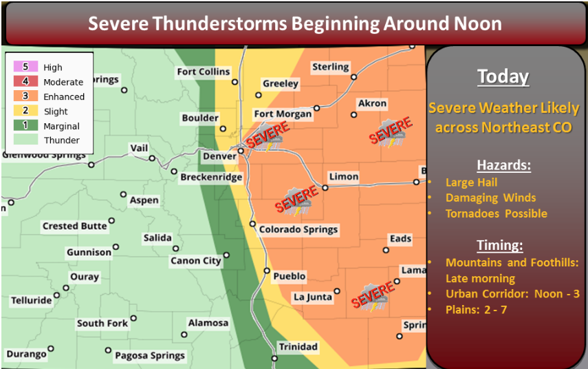 Colorado Weather Map Severe weather expected across Northeast Colorado Today!