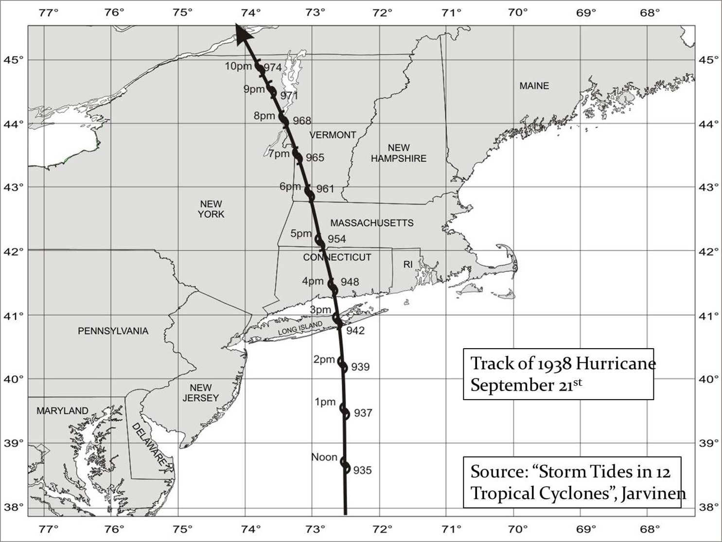 graphic about Hurricane Tracking Maps Printable called NWS Boston - The Superior Hurricane of 1938