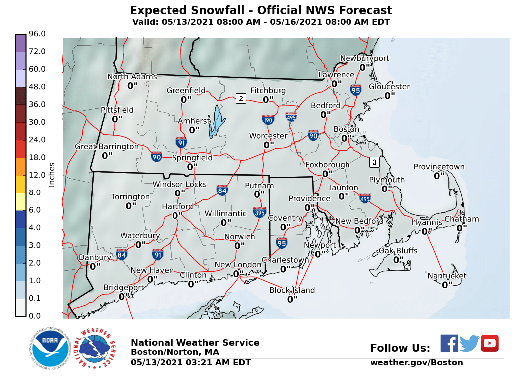 NWS snow accumulation forcecast for southeastern New England