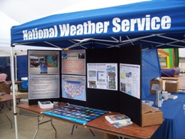 NWS Brownsville tent and pop up display at the 2009 Air Fiesta (Click for larger image)