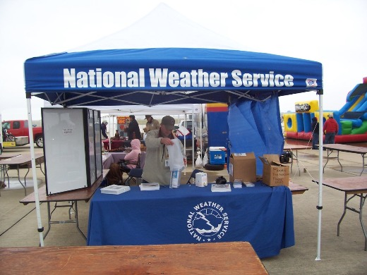 Senior Forecaster Geoffrey Bogorad at the NWS Brownsville display for the RGV Commemorative Air Force's 2009 Air Fiesta