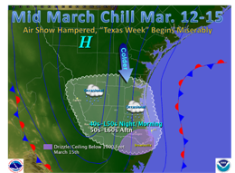 Surface weather map, South Texas, for March 12 through 15, 2009 (Click for larger image)