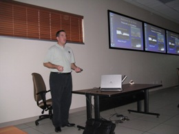Mr. Joseph Tomaselli, Skywarn Coordinator for the Rio Grande Valley, teaching class at the McAllen Emergency Operations Center, March, 2009 (Click for larger image)
