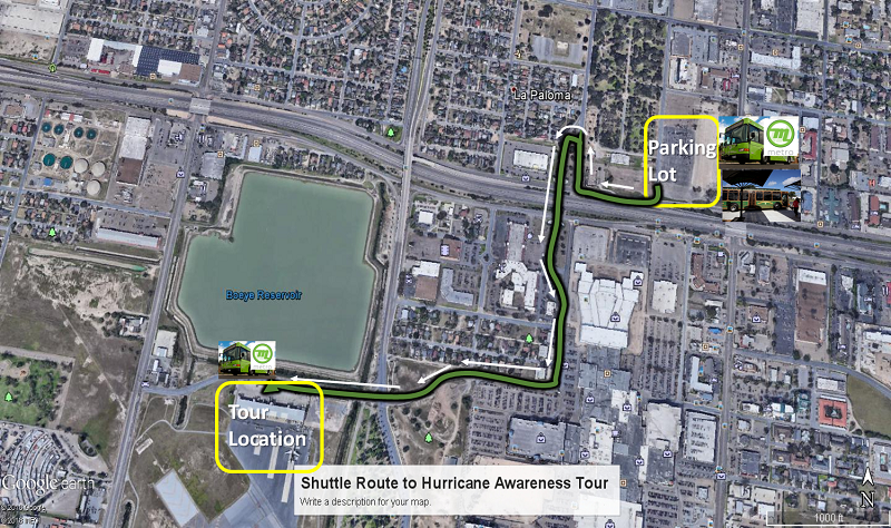 McAllen Hurricane Awareness tour shuttle parking and map to facility