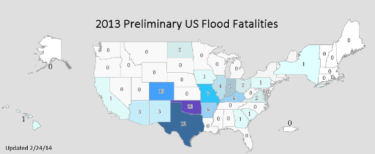 2013 Preliminary Flood Fatalities, by State