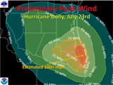 Estimated and measured peak wind (gusts) from Hurricane Dolly in Deep South Texas (click to enlarge)