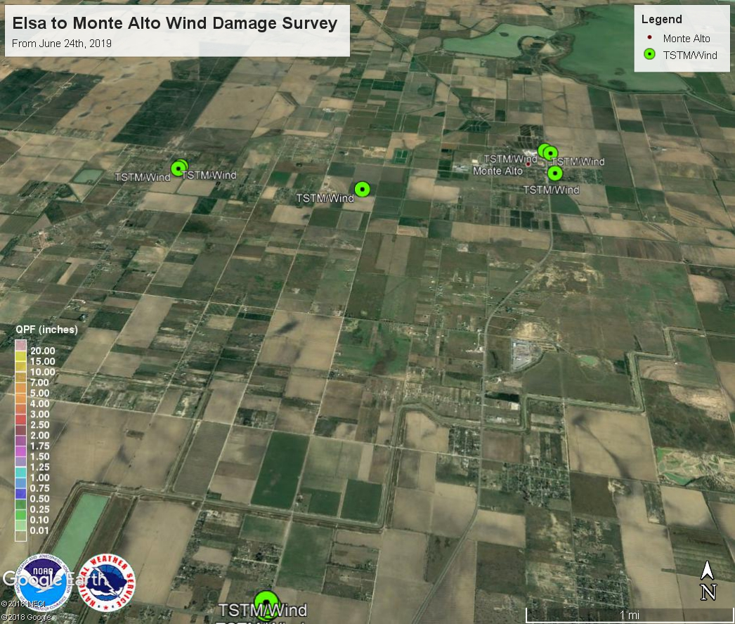 Map of survey locations in Monte Alto and Elsa area from June 24th wind damage