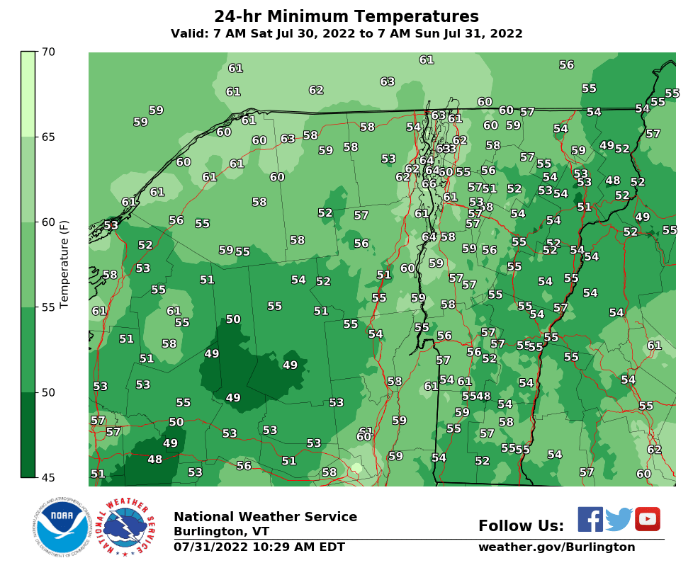 Daily Climate Maps updated 10:30 AM (courtesy of NWS Burlington VT)