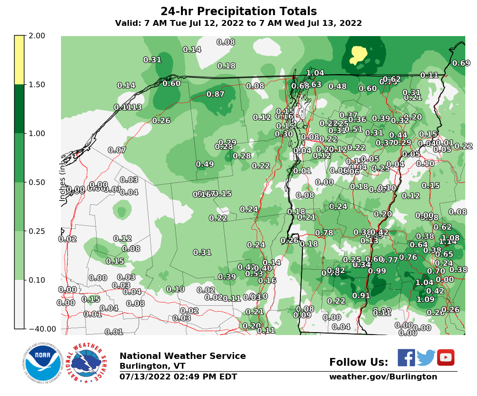 BTV 24 Hour Precipitation Report Map