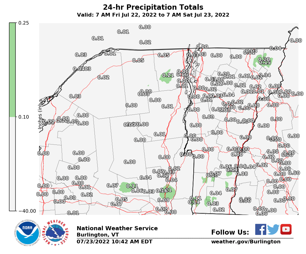 BTV 24 Hour Precipitation Report