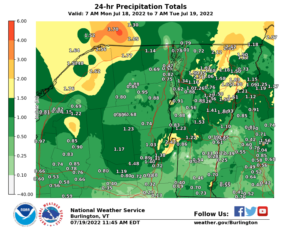 24 Hour Precipitation Report Map