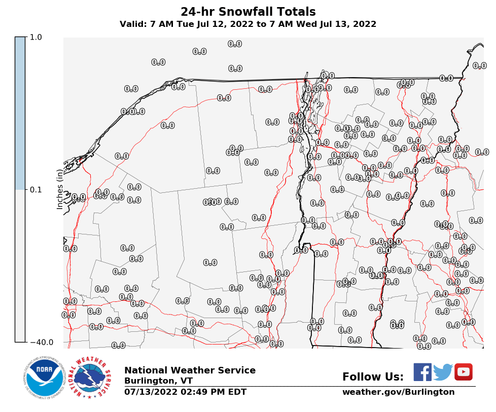 BTV 24 Hour Snowfall Report