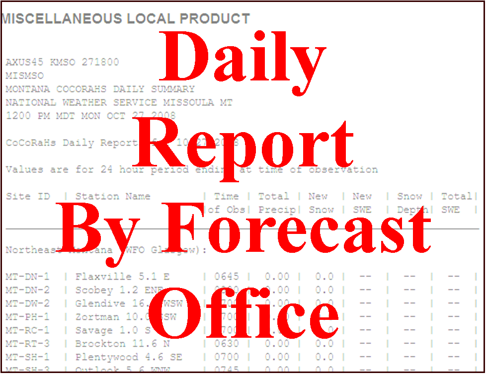 CoCoRaHS Daily Report By Forecast Office
