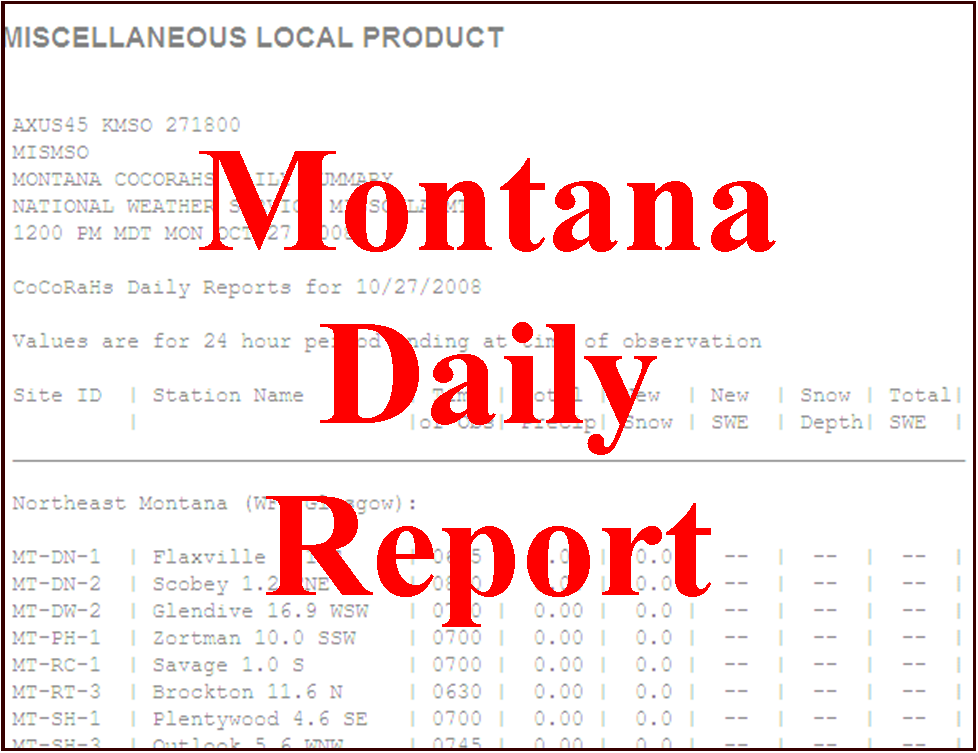 CoCoRaHS Daily Report Montana