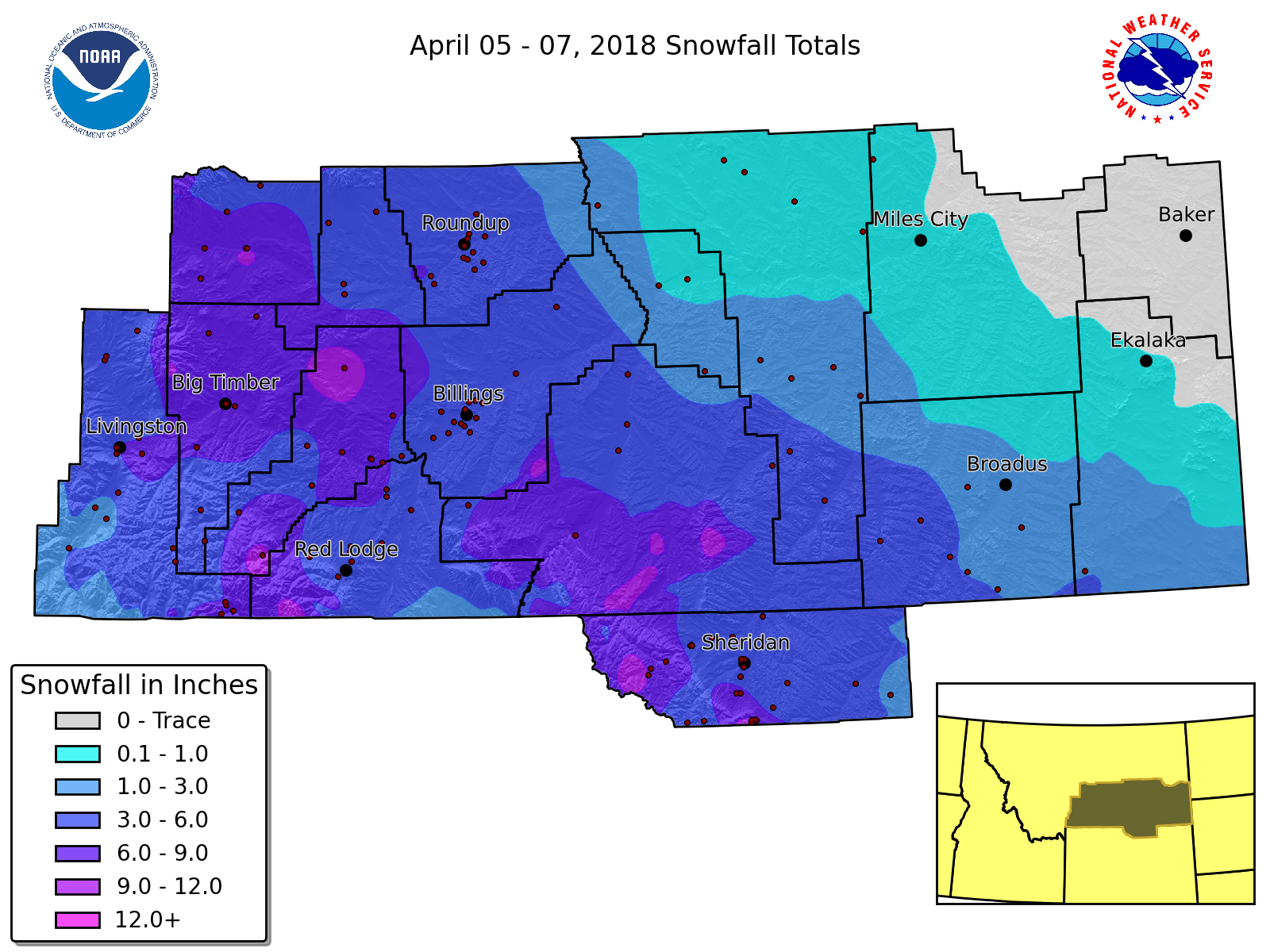 April 05 07 2018 Snowfall Totals