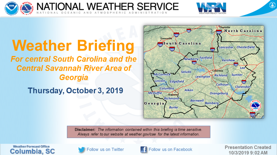 NWS Columbia SC Weather Briefing - Doppler radar columbia sc
