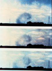 Time series photo showing dust picked up by downburst - frames show distinct roll feature