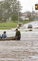 Street flooding - evacuation using small boats