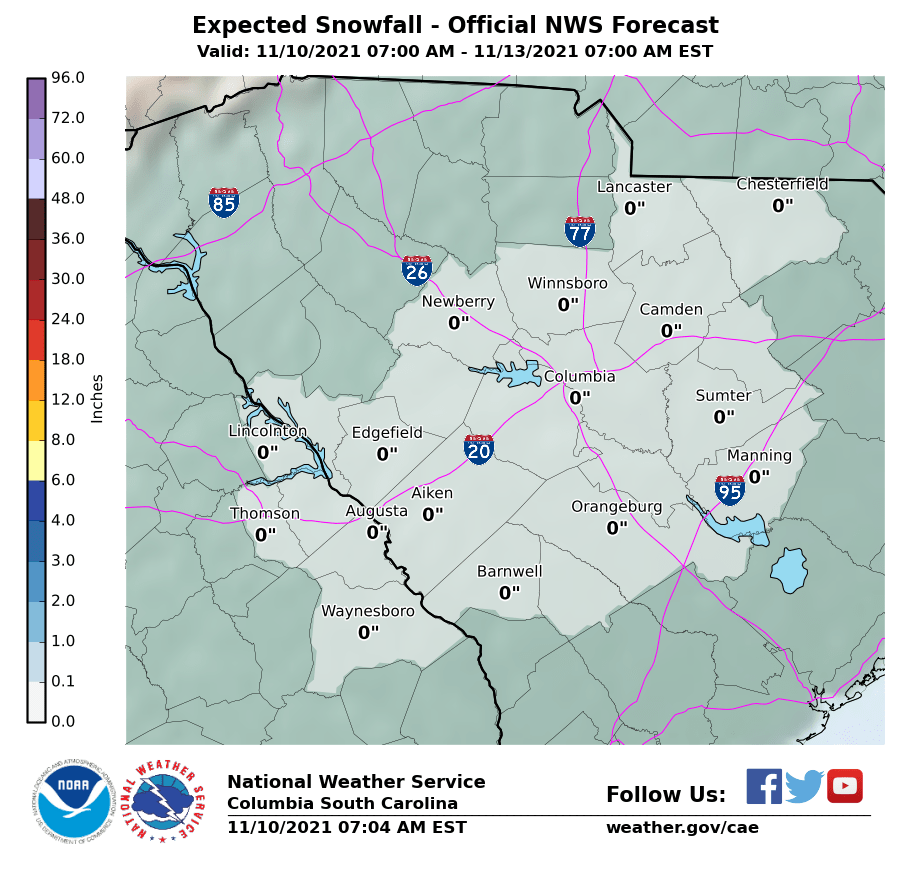 Official NWS Forecast Snow Totals