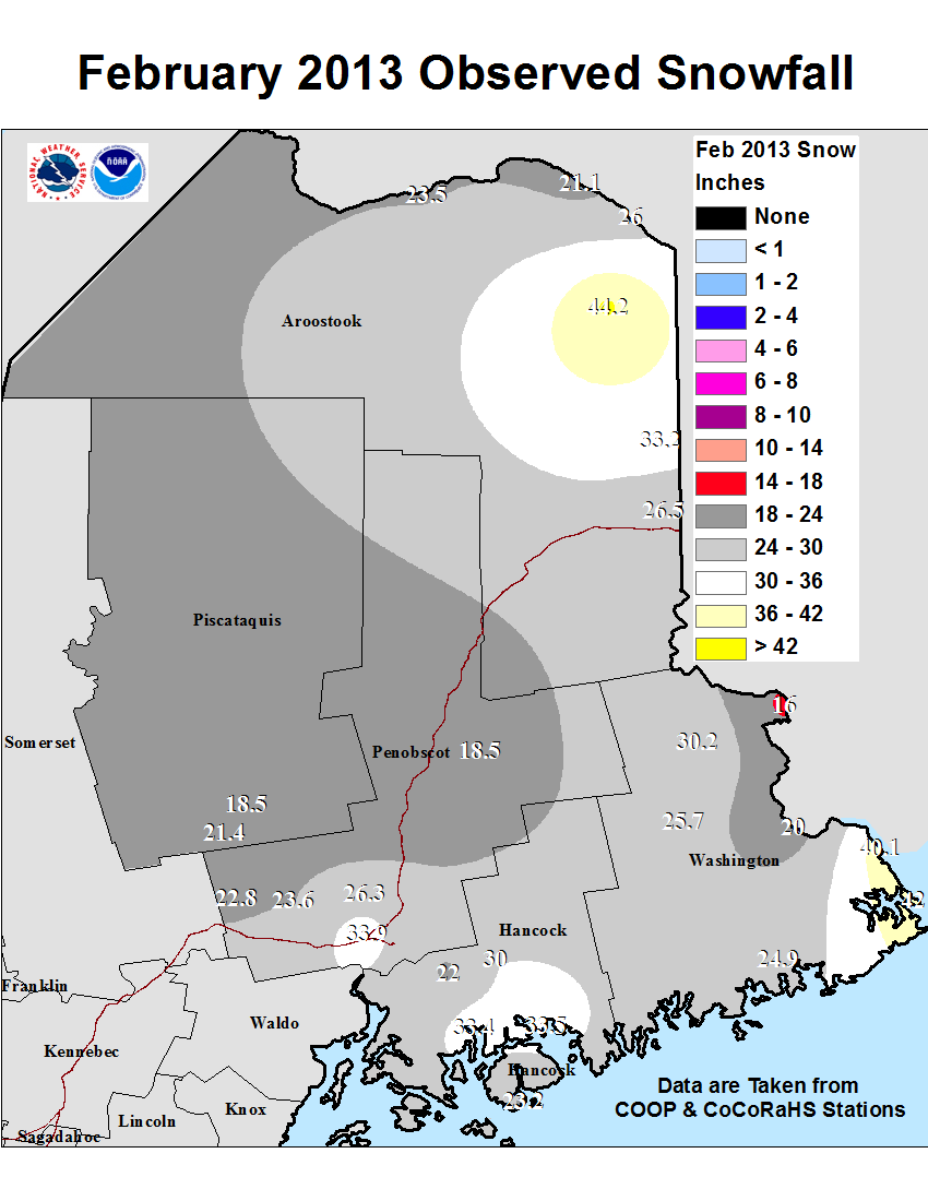 Seasonal and Monthly Snowfall Maps