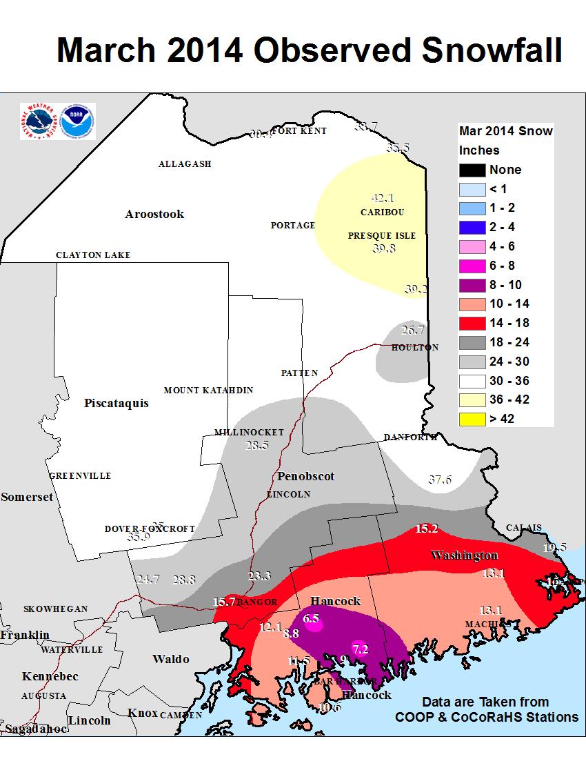 Snow Totals Map
