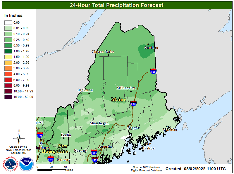 24 Hour Total Precipitation Forecast
