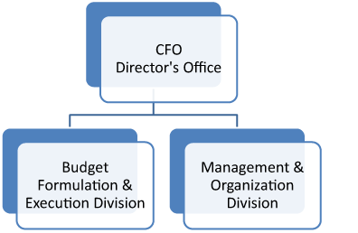 Office of the Chief Financial Officer (CFO) Organization Chart: Two tier organization chart.  One box in the first tier: CFO Director's Office.  Two boxes in the second tier, all directly subordinate to the CFO Director's Office:  First box - Budget Formulation and Execution Division, Second box: Management and Organization Division