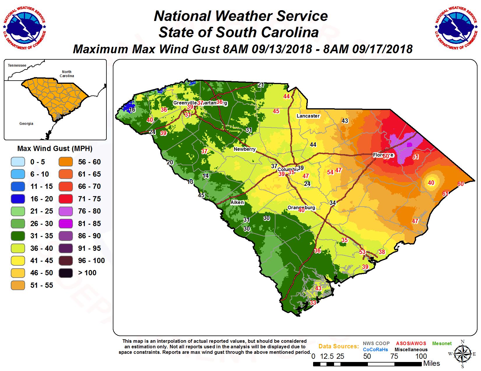South Carolina Weather Map Tropical Storm Florence   September 14 15, 2018