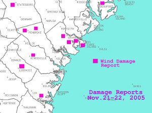 Map of damage reports in southeast GA.
