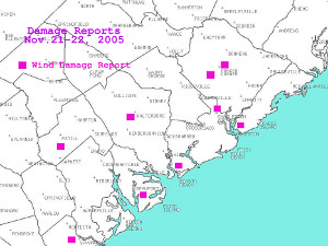 Map of damage reports in southern SC.
