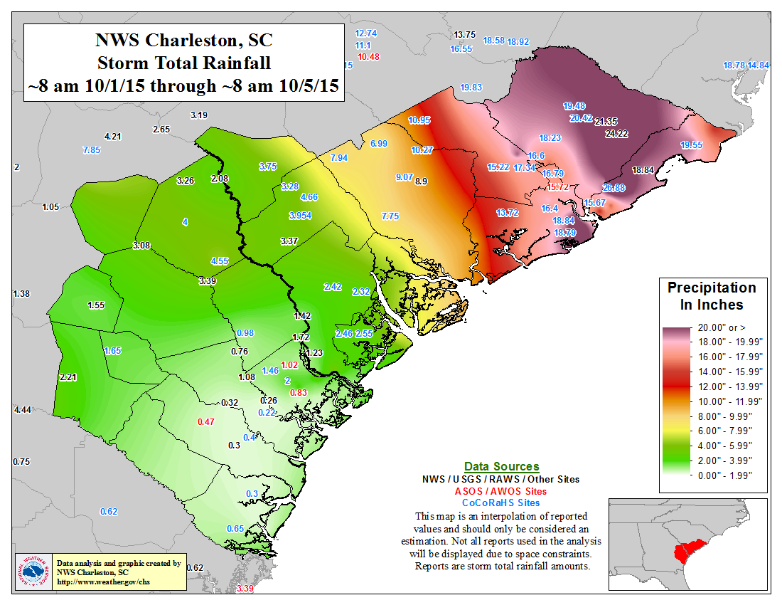 North Charleston Zip Code Map.Historic Flooding October 1 5 2015