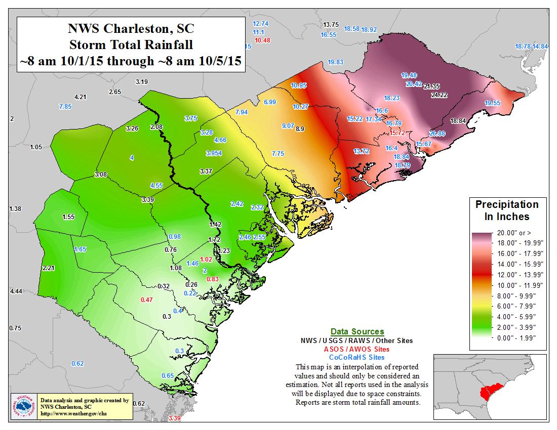 Thousandyear Deluge In South Carolina NOAA Climategov - Map of 2016 us rainfall amounts