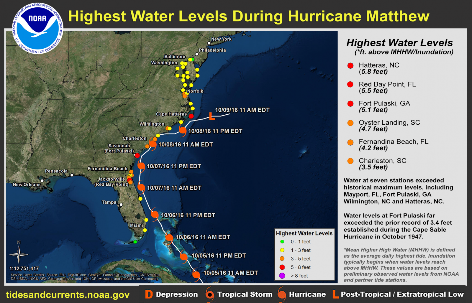 Hurricane matthew october 2016 click here for a map of the highest water levels recorded for many other areas along the us east coast nvjuhfo Choice Image