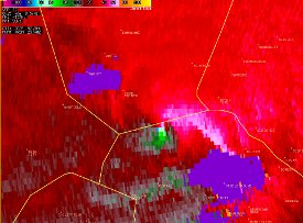 KCLX Storm-Relative Velocity during event.