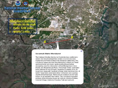 Map of microburst damage in the Savannah area.