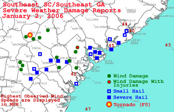 Damage reports from around the area from the severe weather on January 2, 2006