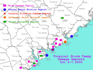Damage reports across southern South Carolina from Tropical Storm Tammy