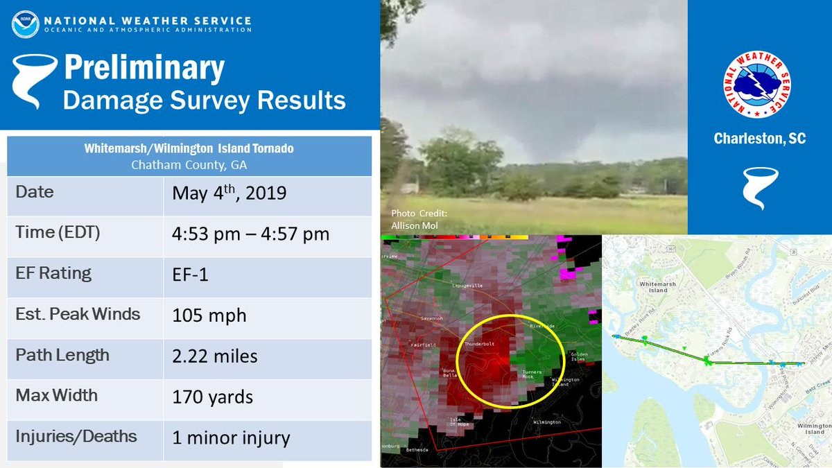 An EF2 rated tornado tracked 2.22 miles across Whitemarsh/Wilmington Islands on May 4, 2019.
