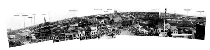 Panoramic image of Downtown Charleston tornado damage.