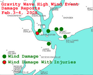 Map of damage reports in the Charleston SC area.