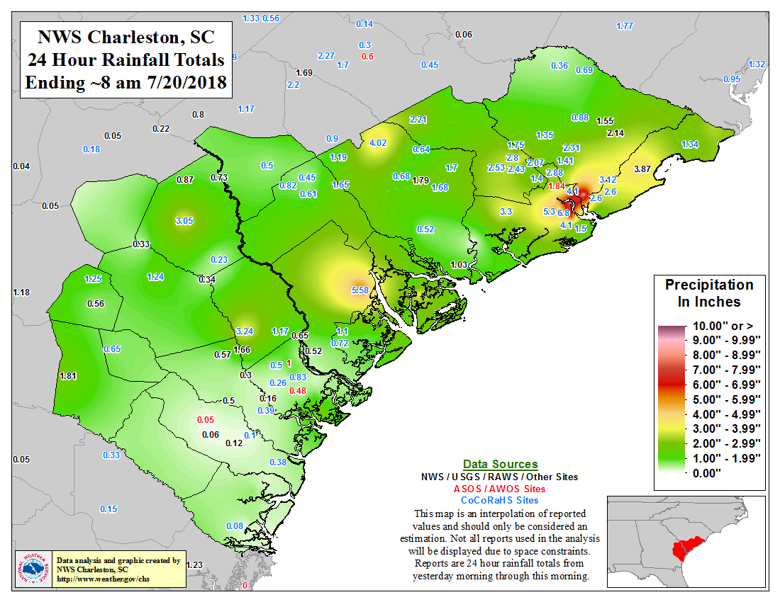 Latest observed rainfall map