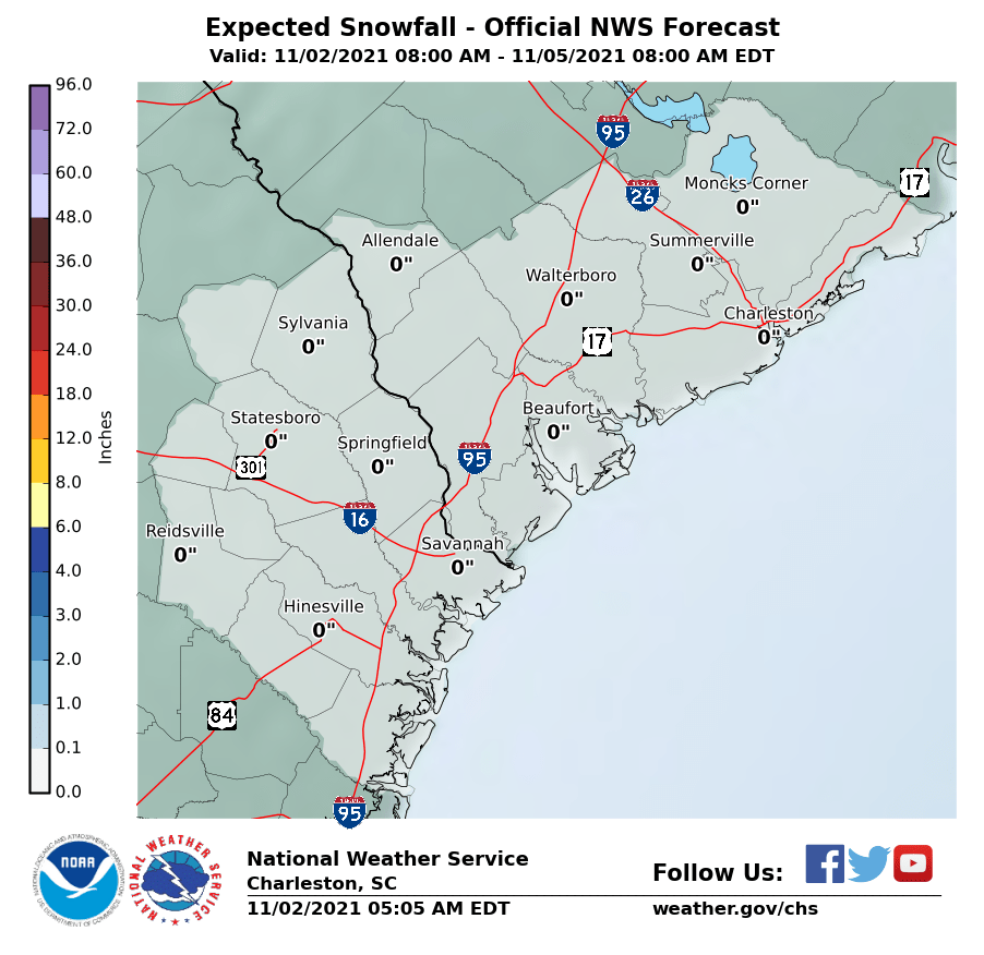 Expected Snowfall - Official NWS Forecast