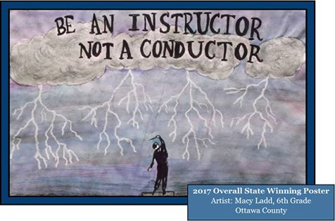 "artwork of overall state poster contest winner: ""Be An Instructor, Not a Conductor"""
