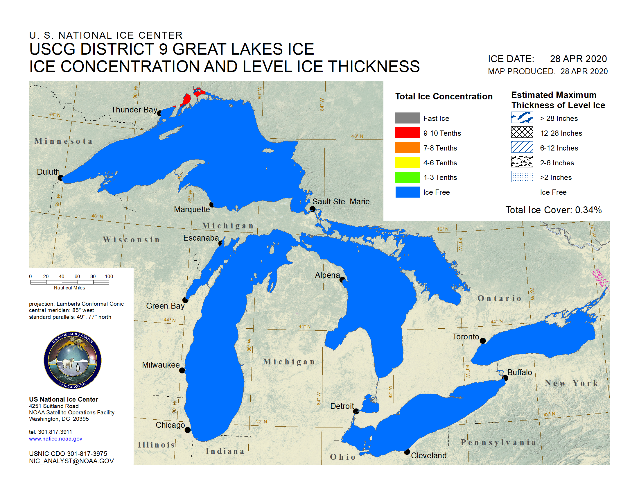 Great Lakes Ice Analysis - Chicago map lake michigan