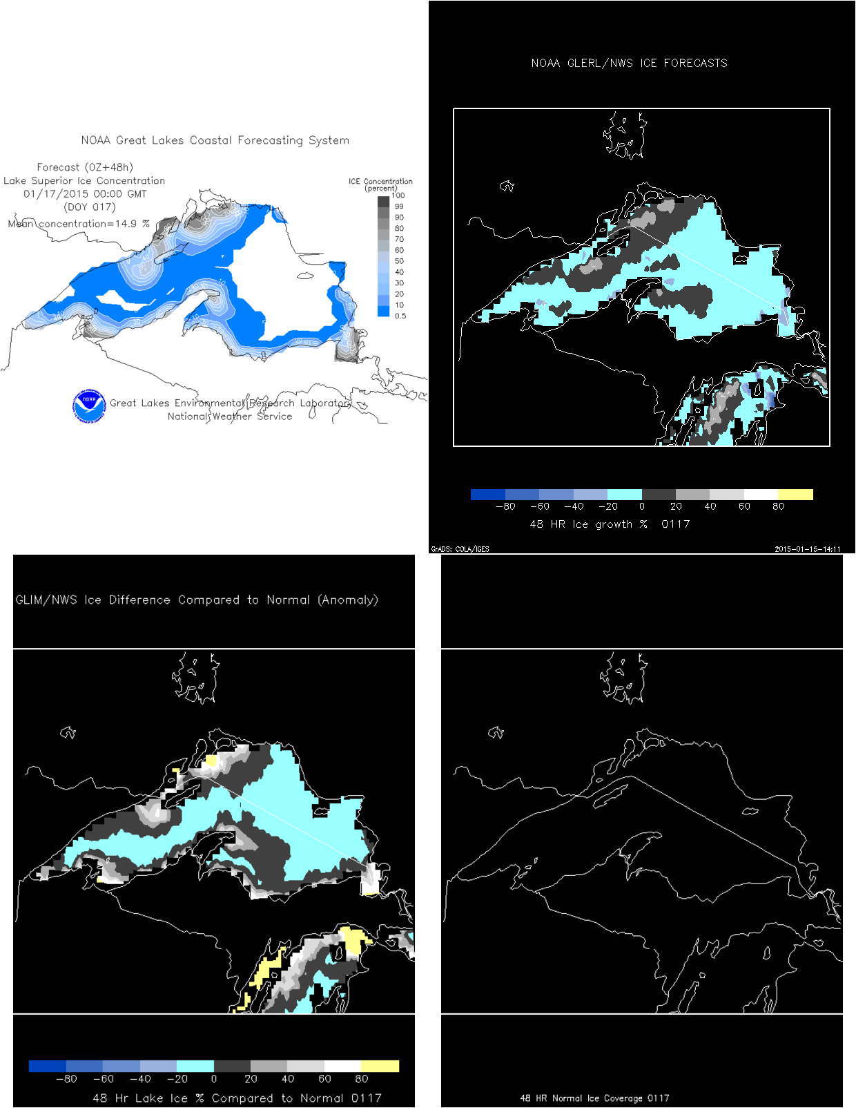 Click for forecast ice concentration, percent change, climate anomaly, normals