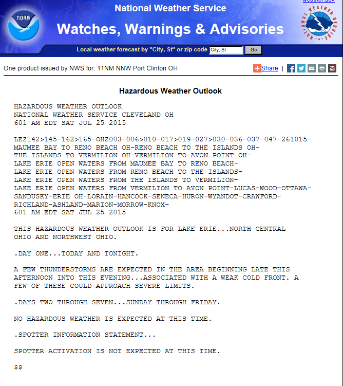 click for the Hazardous Weather Outlook