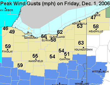 Peak wind gusts on Friday, Dec 1, 2006