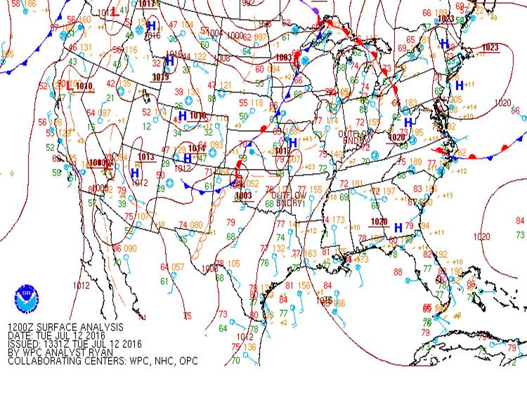 July 12 surface map analysis