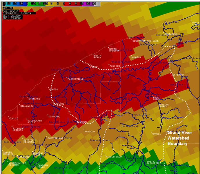 radar estimated rainfall for Lake and Ashtabula counties for July 27-28, 2006.