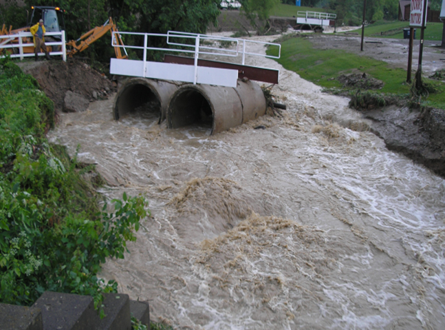 Photo of a washed out culvert in Ashland county